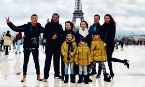 Kim Lý cùng gia đình Hồ Ngọc Hà du lịch ở Pháp