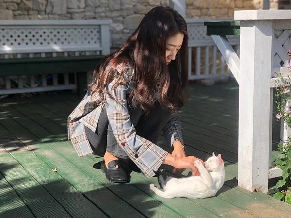 Park Shin Hye chia sẻ khoảnh khắc chơi đùa với mèo trong nắng.