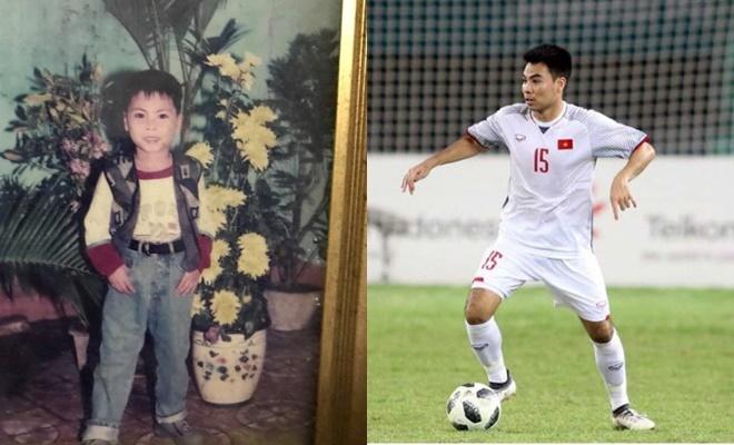 <p> Ảnh thơ ấu của Phạm Đức Huy với đôi mắt to, tròn cùng hàng lông mày đậm nét không khác nhiều so với hiện tại. Nam cầu thủ sinh năm 1995 luôn có lối chơi lăn xả hết mình trên sân cỏ.</p>