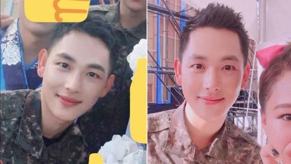 Si Wan vẫn đẹp trai ngời ngời khi đi lính.