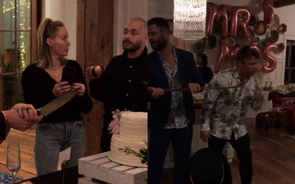 Mẹ Miley (áo đen quần jeans) và các anh trai của Liam có mặt tại bữa tiệc.