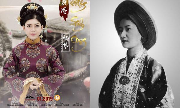 Tạo hình của hoàng hậu trong phim (trái) và hình ảnh Nam Phương hoàng hậu dưới triều Nguyễn.