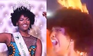 Tân hoa hậu châu Phi la hét vì cháy tóc lúc đăng quang