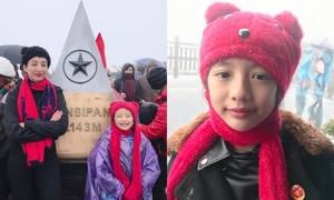 Con gái 8 tuổi của Ngọc Diễm chinh phục Fansipan giữa thời tiết -4 độ
