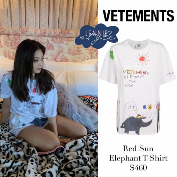 Thiết kế mà cả hai diện nằm trong bộ sưu tập thu đông 2018 của thương hiệu Vetements. Trên áo là dòng chữ Elephant in the room với những hình vẽ ngộ nghĩnh lấy cảm hứng từ tranh thiếu nhi. Giá bán của nó là 460 USD (tương đương 10,6 triệu đồng).
