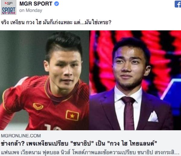 Fan Thái bức xúc khi Chanathip bị ví là Quang Hải của Thái Lan