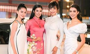 Dàn á hậu xinh đẹp mừng Ngọc Hân ra mắt BST áo dài xuân
