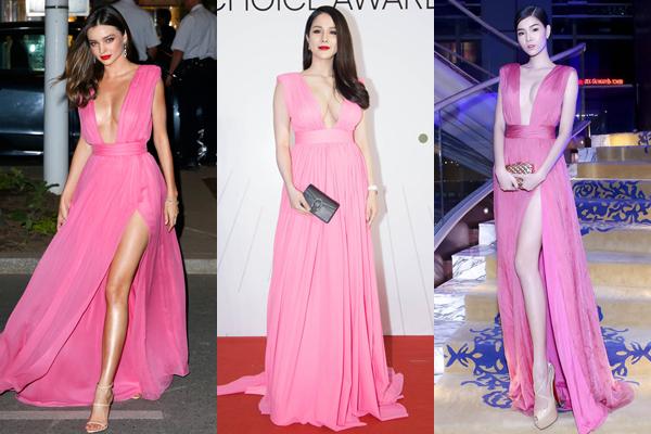 Bản gốc Miranda Kerr và hai bản sao Diệp Lâm Anh - Kỳ Hân với mẫu váy có kiểu dáng hao hao.