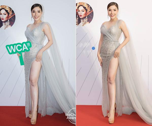 Cùng một dáng đứng, góc chụp nhưng Á hậu Phương Khánh trong bức ảnh tút tát kỹ càng (phải) có đôi chân thon gọn, mịn màng hơn hẳn.