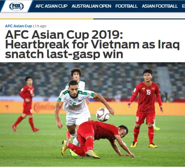 Fox Sports Asia bày tỏ sự tiếc nuối khi đội tuyển Việt Nam thua phút chót.