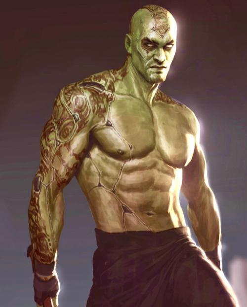 Tạo hình của Jason Momoa trong vai Drax. Dù ngoại hình khác xa với Aquaman nhưng ánh mắt dữ dằn ấy khiến khán giả không lẫn vào vào đâu được.