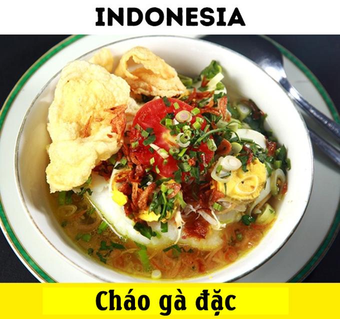 """<p> Tại """"xứ sở vạn đảo"""" Indonesia, 1 USD có vẻ giá trị hơn. Bạn có thể thưởng thức một bát cháo gà đặc nhiều """"topping"""" (gà xé, gà đặc, trứng gà...) vô cùng hấp dẫn.</p>"""