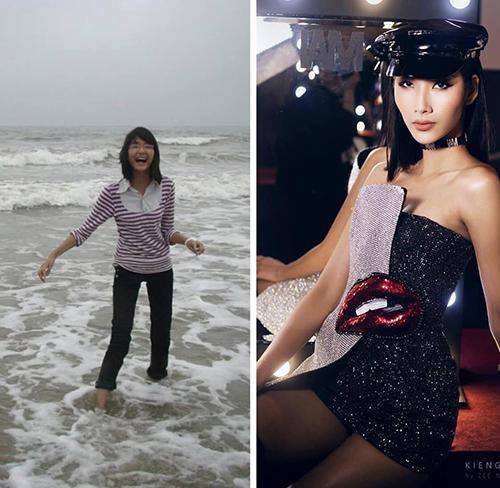 Hoàng Thùy khoe ảnh dậy thì thành công trong 10 năm, từ một cô nhóc gầy nhẳng đến Á hậu Hoàn vũ Việt Nam gợi cảm.