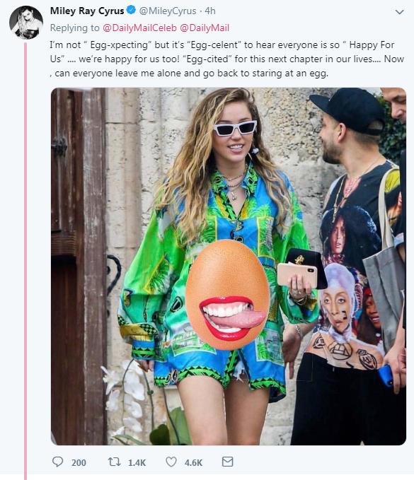 Miley khiến fan cười xỉu với màn đáp trả tin đồn cưới chạy bầu