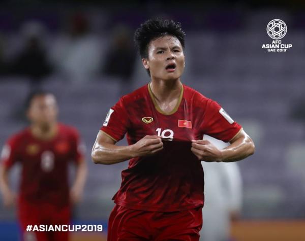 Quang Hải ghi bàn mở tỉ số cho tuyển Việt Nam, tối 16/1.Ảnh: AFC