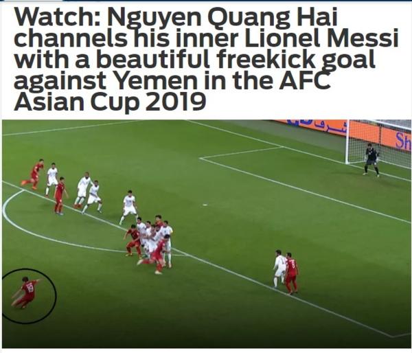 Fox Sports phiên bản châu Á đăng tải bài viết về cú sút phạt của Quang Hải.