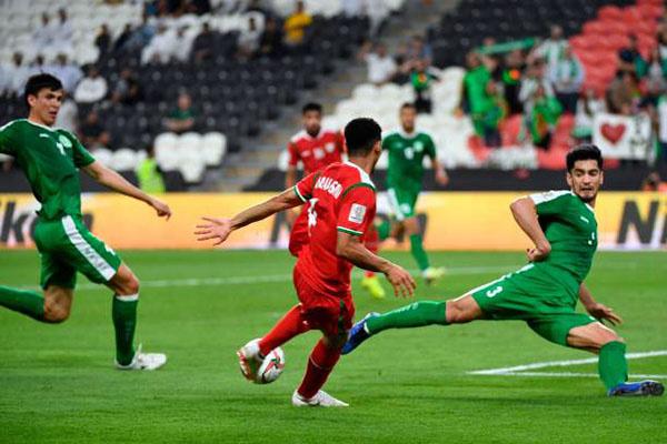 Trận đấu giữa Oman - Turkmenistan.