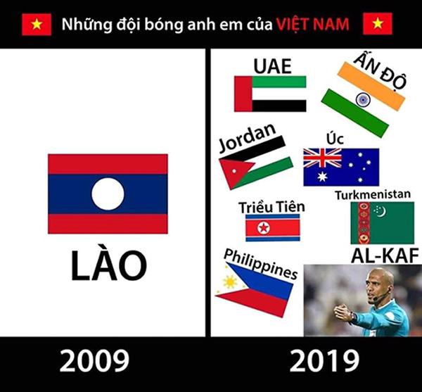 Trào lưu 10 year challenge cũng nhanh chóng được áp dụng vào ảnh chế về đội tuyển Việt Nam.