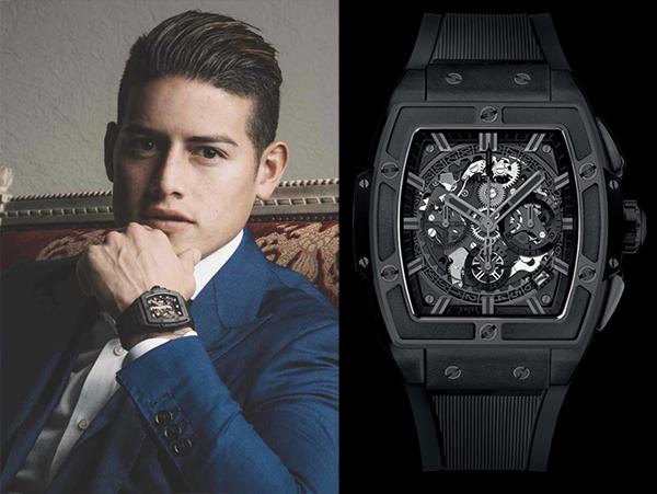 Chiếc Hublot Spirit of Big Bang All Black gây ấn tượng với một màu đen trên toàn bộ chiếc đồng hồ cũng đã tiêu tốn của ngôi sao số 1 của đội tuyển Colombia  James Rodriguez hơn 500 triệu đồng.
