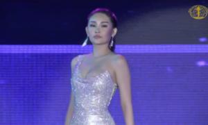 Ngân Anh lộ miếng dán ngực khi diện đầm dạ hội tại Miss Intercontinental