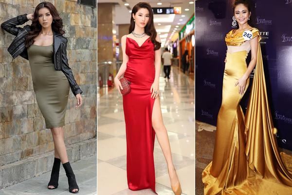 Váy satin, lụa bóng là kiểu trang phục được sao Việt đặc biệt ưa chuộng vài năm gần đây. Chất liệu này mang đến sự mềm mại, sang trọng cho người mặc. Tuy nhiên vì khá mỏng và ôm sát nên váy satin rất dễ làm lộ nhược điểm của chủ nhân. Rất nhiều người đẹp từng bị tố có vòng hai tròn vo dưới ánh đèn flash.