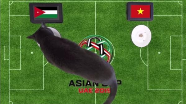 Chú mèo tiên tri nước Anh chọn đĩa thức ăn có cờ của Jordan, một chiến thắng được dự đoán cho đối thủ của Việt Nam.