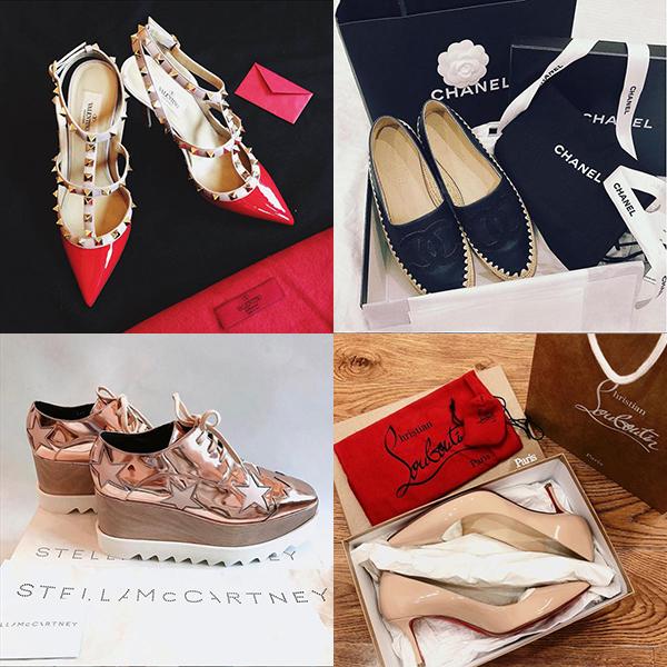 Ngoài túi hiệu, cô tiểu thư lá ngọc cành vàng cũng không tiếc tiền sắm giày xa xỉ, giá mỗi đôi khoảng từ 20-40 triệu đồng.