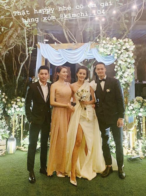 Vợ chồng Lê Hà đến dự đám cưới Kim Chi.
