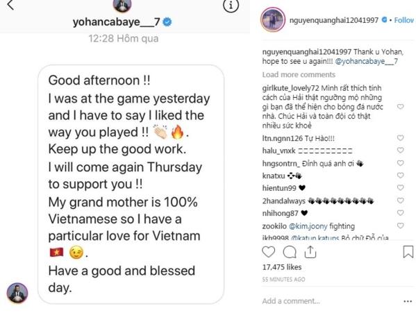 Quang Hải nhận được lời nhắn từ Yohan Cabaye.
