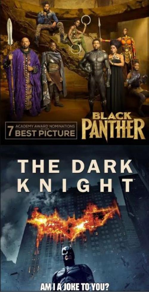 The Dark Knight - bộ phim được đánh giá là biểu tượng của dòng phim siêu anh hùng với cách khai thác đề tài sâu sắc, ý nghĩa cũng chưa từng nhận được đề cử Oscar cho Phim hay nhất.