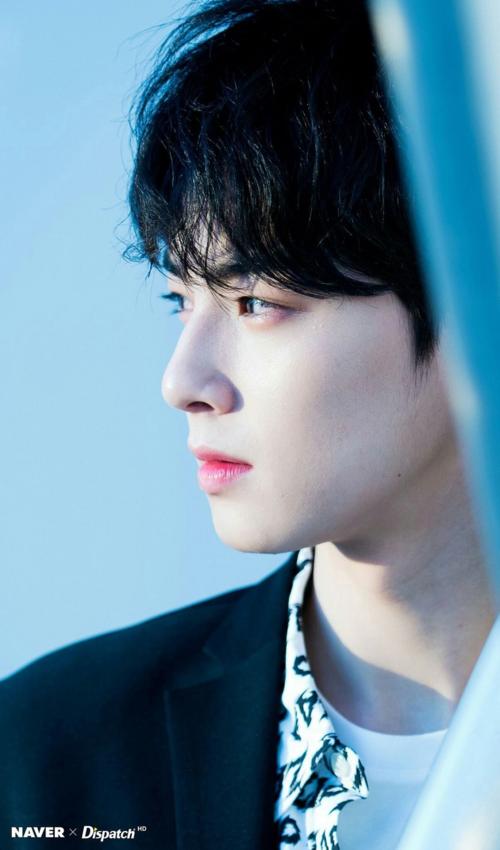 Mỹ nam truyện tranh Cha Eun Woo (ASTRO) tỏa sáng trong mọi khung hình. Anh chàng được fan bình chọn là idol đẹp trai nhất Kpop thế hệ ba. Đặc biệt khi nhìn anh chàng ở góc nghiêng, nhiều fan đã phải thốt lên: Góc nghiêng thần thánh của một nam thần!.