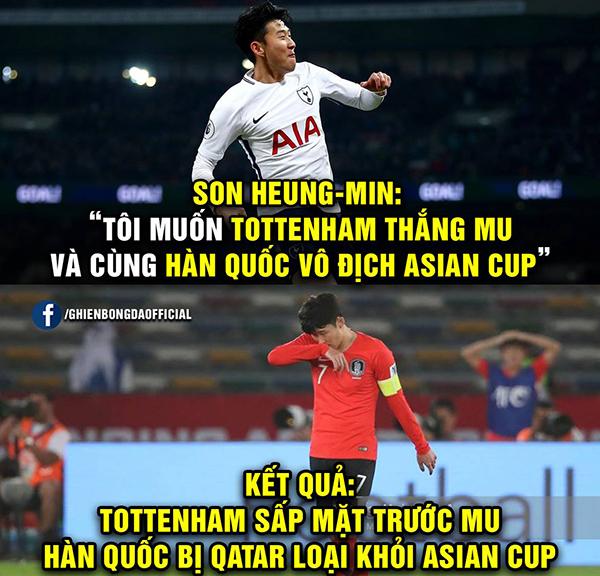Son Heung Min bị chế ảnh xách va li về nước sau trận thua Qatar - 1