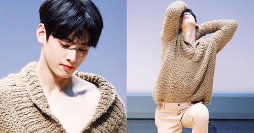Trong buổi fansign mới nhất, chiếc áo lên lệch vai khiến Cha Eun Woo (Astro) trở nên nữ tính hóa quá đà.