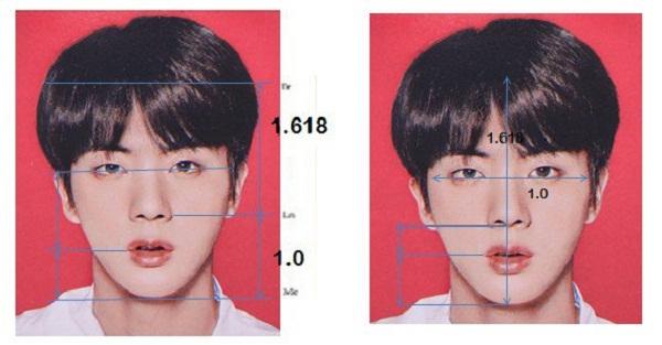 Trước đây, Jin cũng nhiều lần đứng đầu các cuộc bình chọn về ngoại hình.  Năm 2018, một bác sĩ thẩm mỹ tại nước ngoài đã nhắc đến trường hợp của  Jin như là người sở hữu gương mặt hoàn hảo với tỷ lệ 1,618 khó tin. Tỷ  lệ này được tính như sau: nếu khoảng cách giữa hai tai được ước tính là  1, thì khoảng cách từ đường chân tóc đến cằm phải nằm trong khoảng  1,618. Ngoài ra, khoảng cách giữa đôi môi và cằm là 1 thì giữa môi và  khoảng cách giữa hai mắt phải là 1,618.