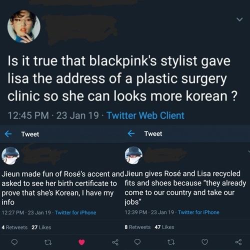 Tin đồn về việc Ji Eun bắt nạt hai em út Black Pink, chế giễu giọng nói Rosé, khuyên Lisa - Rosé đi phẫu thuật thẩm mỹ& lan truyền trên Twitter.