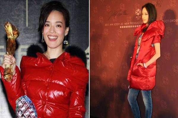 Giữ ấm như Cảnh Điềm vẫn chưa là gì với Thư Kỳ. Nữ diễn viên từng gây chú ý khi đi sự kiện, nhận giải thưởng điện ảnh với chiếc áo phao đỏ rực sợ gì gió lạnh. Với Thư Kỳ, đẹp chẳng quan trọng bằng sức khỏe.