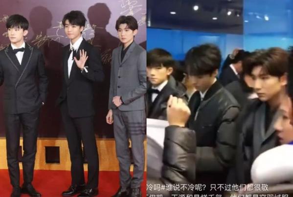 TFBOYS đóng bộ vest bảnh bao trên thảm đỏ nhưng fan để ý thấy Vương Nguyên nắm chặt tay như đang cố chịu đựng giá rét. Vừa chụp ảnh xong tiến vào hậu trường, các chàng trai lập tức được mặc áo phao dày cộp.