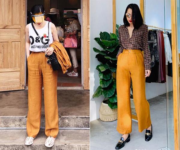 Có vóc dáng, chiều cao tương đồng, Kỳ Duyên - Minh Triệu đẹp ngang ngửa nhau khi cùng diện mẫu quần linen vàng mù tạt với cách phối khác biệt.