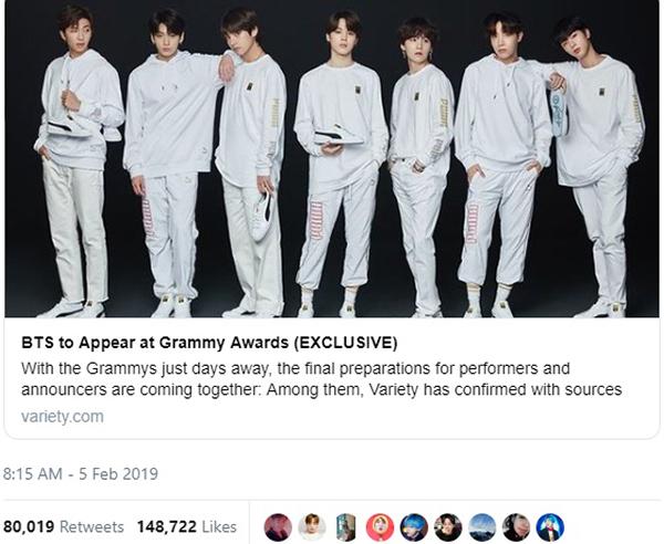 Bài đăng của Variety nhận được lượt like và share khủng trên twitter.