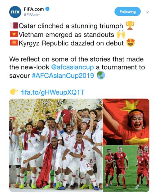 Liên đoàn bóng đá thế giới FIFA nói về giải đấu Asian Cup 2019.
