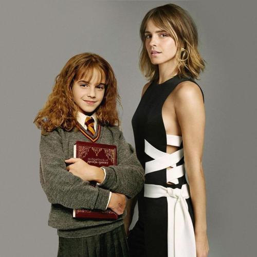 Cô phù thủy nhỏ Hermione đứng bên cạnh Emma Watson vô cùng gợi cảm ở tuổi trưởng thành. Dù ở quá khứ hay hiện tại, Emma Watson vẫn xinh đẹp xuất sắc và để lại nhiều thiện cảm cho khán giả.