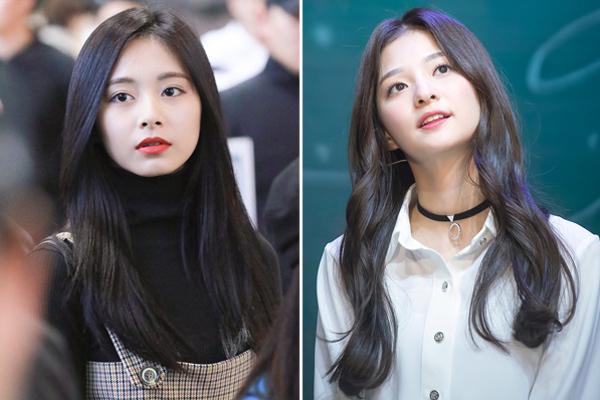 Na Kyung (fromis_9) cũng có đường nét khuôn mặt và mái tóc dài tối màu khá giống Tzuyu.