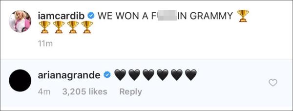 Kết thúc câu chuyện, Ariana thả tim bên dưới status ăn mừng chiến thắng của Cardi B.