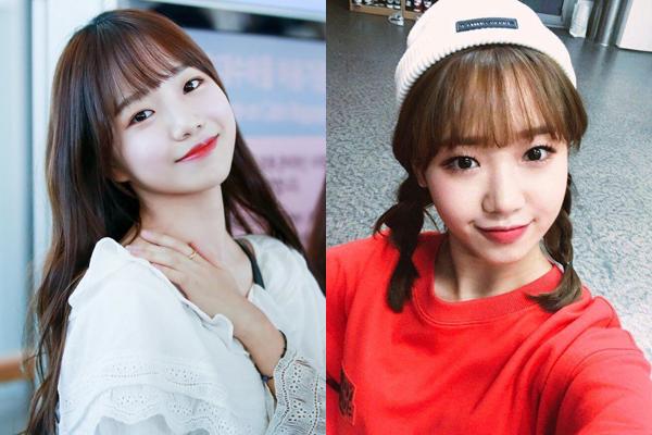Yoo Jung (phải) và bản sao Jo Yuri có cùng vị trí xếp hạng trong chương trình Produce.