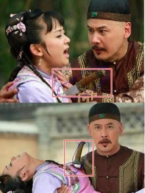Con dao đâm Hạ Tử Vy trong phim Tân Hoàn Châu cách cách tự lún sâu hơn sau một vài giây.