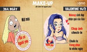 Sự khác biệt của con gái trong Valentine và 364 ngày còn lại