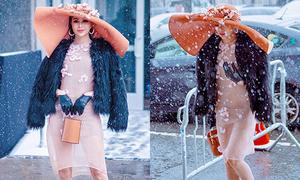 Hoa hậu Sella Trương diện váy mỏng như sương dưới trời tuyết âm độ