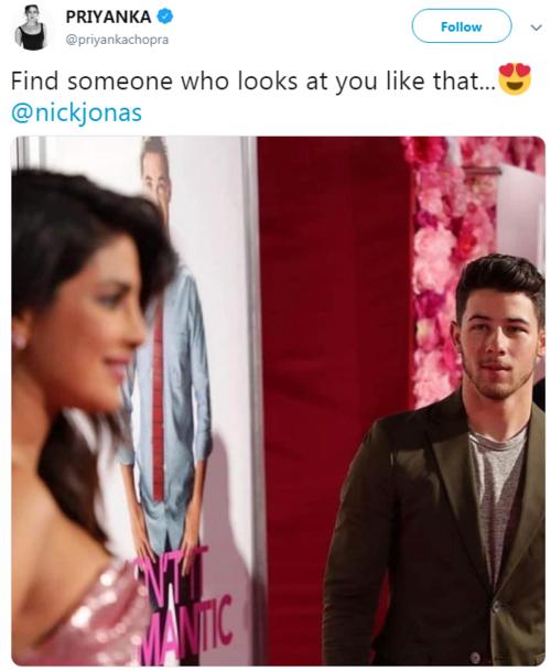 Mới đây, cựu hoa hậu thế giới Priyanka Chopra chia sẻ bức ảnh Nick Jonas đang âu yếm dõi theo cô từ phía xa. Trong phần chú thích, bà xã Nick Jonas viết: Tìm ai đó nhìn bạn như vậy... Bài đăng này nhận được lượt tương tác ấn tượng, hơn 85.000 like và gần 2000 bình luận sau vài ngày.