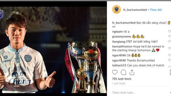 Bài đăng trên fanpage của CLB Buriram.
