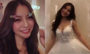 Bạn gái Quang Hải mặc váy cưới gây xôn xao